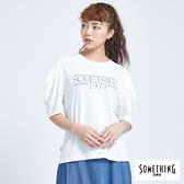 SOMETHING 落肩寬袖圓領短袖T恤-女款 白色