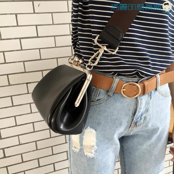 全館83折韓國時尚休閒單肩斜背復古夾子包