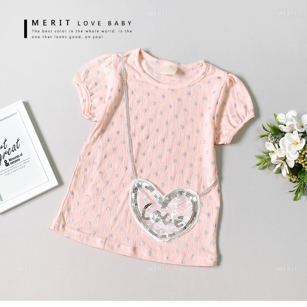 純棉 可愛點點愛心口袋粉紅上衣 公主袖 甜美 超柔軟 舒適 蕾絲 泡泡棉 粉色 女童 哎北比童裝
