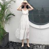 秋裝2019新款夏季大碼女裝高腰V領白色收腰吊帶連身裙子女『小淇嚴選』