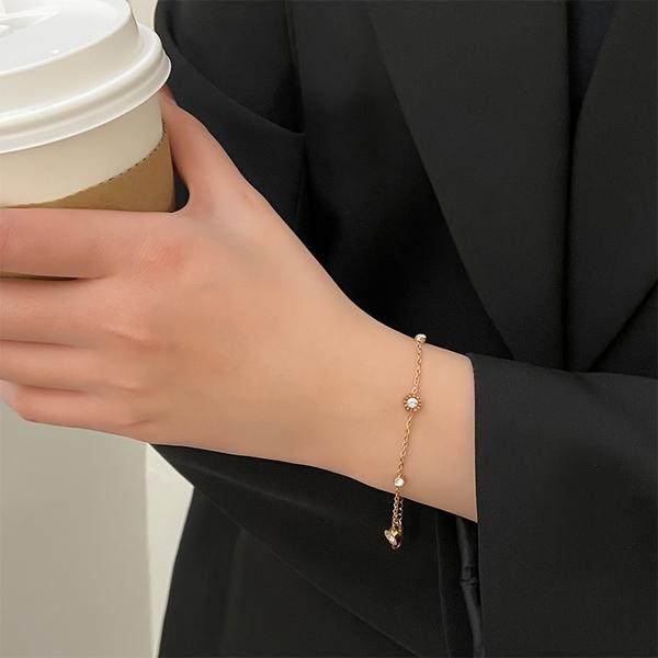 素簡手作醫療鋼抗過敏玫瑰金手鍊 羅馬鋯石 現+預【RS33】