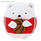 日本限定 SAN-X 角落生物 白熊 籃球風  珠鍊玩偶零錢包