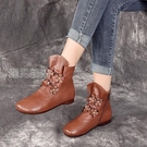 馬丁靴秋季新款民族風復古軟皮圓頭手工花朵側拉鍊平底短靴騎士靴 快速出貨