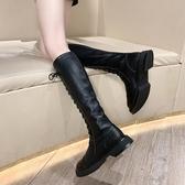 長靴長筒靴女騎士靴秋季新款單靴不過膝瘦腿靴子黑色英倫長靴韓版