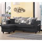 【森可家居】紗南L型黑色布沙發(三人座+收納型腳椅) 10ZX229-4 可拆洗