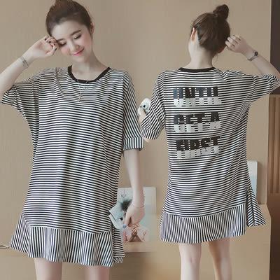 【愛天使孕婦裝】韓版(91376)彈性布料 條文背印字洋裝 孕婦裝