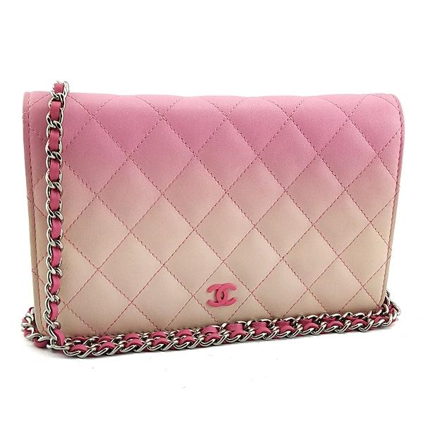 【奢華時尚】限量款!CHANEL 粉紅色漸層皮革銀鍊肩背斜背WOC包 (九成新)#25224