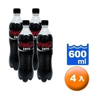 可口可樂 zero 零熱量 600ml (4入)/組【康鄰超市】