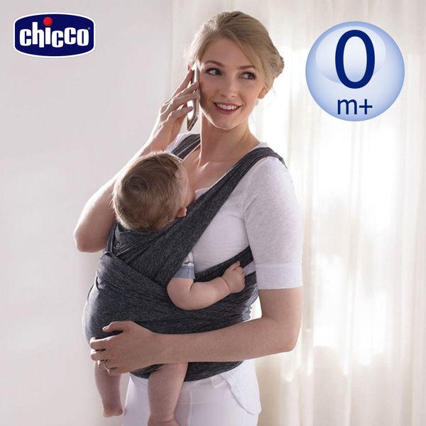 chicco-Boppy環抱式透氣嬰兒揹巾(條紋灰)