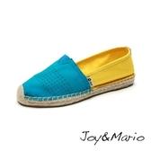 【Joy&Mario】撞色拼接草編鞋 - 01083W BLUE