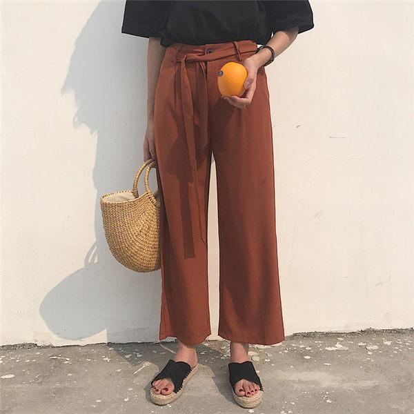 [協貿國際]港味純色綁帶  復古風直筒顯瘦九分褲 腰帶1入