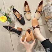 溫柔鞋仙女的復古中粗跟春秋豆豆女鞋方頭軟面單鞋2019新款奶奶鞋      良品鋪子