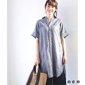 連身洋裝 法國亞麻 五分袖 襯衫式【coen】