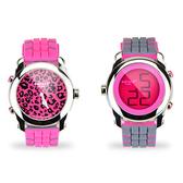 colore TWINS時尚豹紋數位指針錶M06粉紅配灰