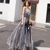 性感露背吊帶大擺沙灘裙巴厘島海邊度假裙復古禮服長裙吊帶裙 東京衣櫃