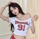 低胸上衣春夏新款緊身韓版大U領短袖T恤上衣露臍短款個性字母印花打底衫女 快速出貨