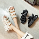 涼鞋女夏2021年新款厚底百搭松糕女鞋休閑魔術貼運動沙灘鞋ins潮 快速出貨
