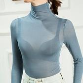 長袖T恤-高領純色性感內搭女打底衫12色73za4[巴黎精品]