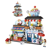智力開發刨冰店街景拼插積木益智玩具 兒童益智玩具 早教玩具 章魚燒日料店小顆粒積木