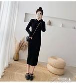 長袖流行洋裝 年新款秋冬女裝收腰顯瘦赫本風黑色連衣裙子炸街氣質長袖打底 新年禮物