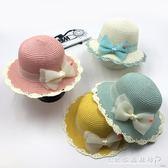 夏天兒童帽子 女童蝴蝶結草帽 小女孩防嗮沙灘帽 遮陽寶寶帽  水晶鞋坊