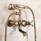 全銅仿古花灑復古歐式淋浴簡易花灑套裝浴缸水龍頭 QQ8814『東京衣社』
