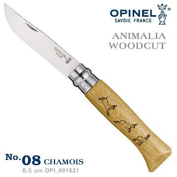 丹大戶外【OPINEL】法國 ANIMALIA - WOODCUT 法國刀動物圖騰系列-羚羊圖騰(No.08) 001621