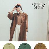 Queen Shop【01084604】基本百搭素色長版襯衫洋裝 三色售*現+預*
