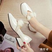 軟妹娃娃小皮鞋女秋季2018新款白色甜美休閒中跟瑪麗珍粗跟仙女單鞋 DN19272【旅行者】