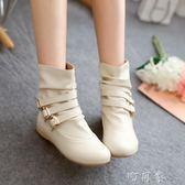韓版單靴子女鞋春秋冬季平底馬丁靴短靴平跟學生學院風 盯目家