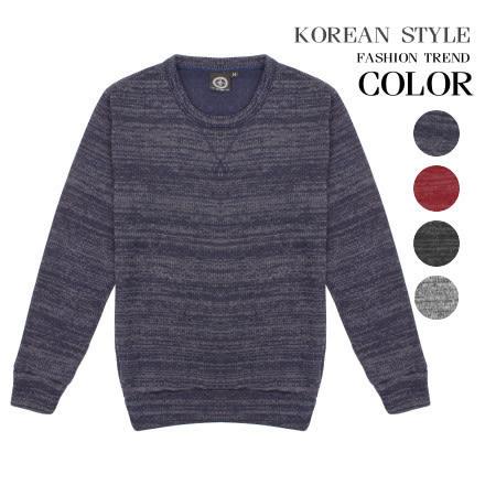 韓式作風 - 輕混色感圓領針織長袖上衣(四色)【BSG5950】