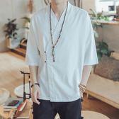 禪服 亞麻襯衫男短袖中式棉麻襯衣夏季中國風復古  GB943 『優童屋』