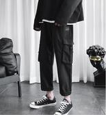 夏季褲子男韓版潮流寬鬆百搭工裝褲直筒潮牌九分薄款運動休閒長褲
