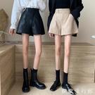 皮短褲 皮褲女短褲秋冬季高腰2020新款外穿pu褲子顯瘦百搭直筒寬鬆闊腿褲 歐歐