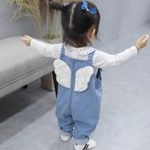 牛仔褲女童背帶褲春秋2020新款兒童牛仔褲子洋氣1歲小童春款3女寶寶春裝 新品