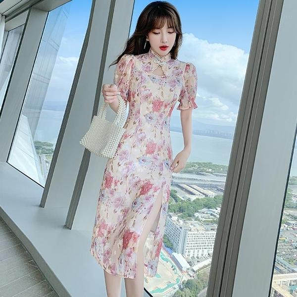 小洋裝 設計感改良版旗袍裙子女法式復古名媛顯瘦連身裙N718快時尚