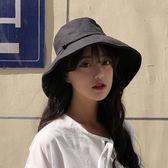 夏天正韓遮陽帽子女夏太陽帽防曬紫外線漁夫帽日系百搭潮寬檐黑色