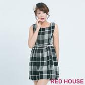 【RED HOUSE 蕾赫斯】經典格紋毛呢洋裝(黑色) 任選2件899元