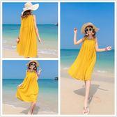 2019新款海邊度假沙灘裙雪紡中長款黃色大尺碼波西米亞吊帶連衣裙夏 快速出貨