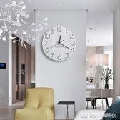 創意掛鐘客廳現代靜音簡約圓形藝術田園時尚鐘錶木質大號北歐個性    琉璃美衣