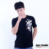 BIG TRAIN 堂獅扇子短袖圓領T-男-深藍/黑