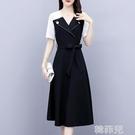 襯衫洋裝 2020新款夏季大碼女裝胖mm顯瘦西裝領連衣裙成熟職業氣質襯衫裙子 韓菲兒