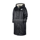 Nike 外套 NSW Synthetic-Fill Parka 黑 白 女款 連帽 長版 大衣 運動休閒 【PUMP306】 BV3126-010