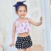聖誕免運熱銷 兒童泳裝兒童游泳衣女童女孩泳裝公主比基尼寶寶分體裙式小中大童泳衣帶帽