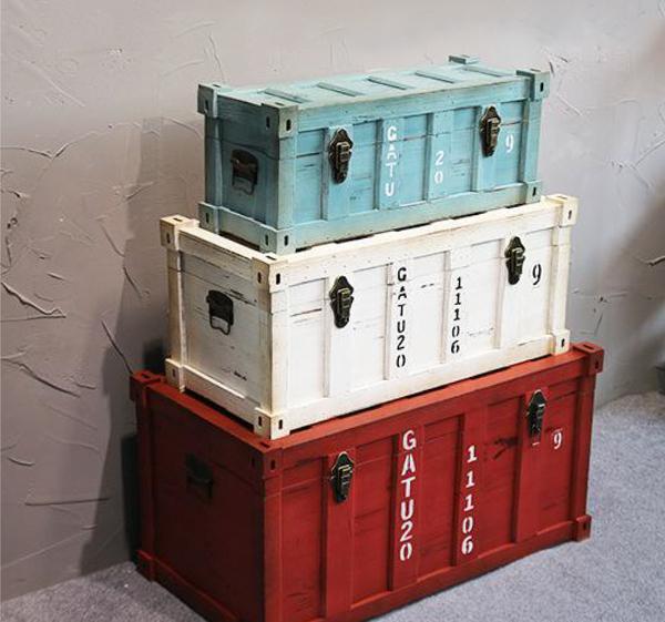 現+預購 大款 可客製 收納箱 復古大木箱 置物箱 工業風 實木製 仿貨櫃造型 椅子桌子 藏寶箱