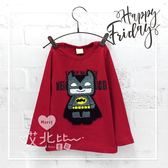 樂高蝙蝠俠毛線繡長袖上衣 美式 卡通 超人 英雄 T恤 圓領 男童 童裝 哎北比童裝