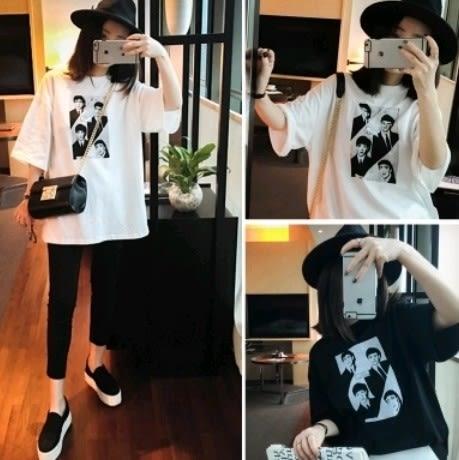 EASON SHOP(GU0941)韓國照片T圓領短袖T恤棉T原宿風男友風印刷寬鬆黑色白色純色單色女學生上衣