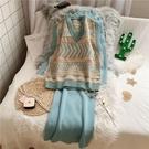 長袖套裝裙毛線裙套裝新款秋冬網紅毛衣裙洋氣時尚針織馬甲女兩件套秋季新年交換禮物
