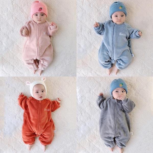 嬰兒童秋冬裝套裝連身衣服男寶寶法蘭絨加厚睡衣保暖新生兒珊瑚絨
