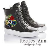 ★零碼出清★Keeley Ann時尚指標繡花混搭綁帶運動風真皮短靴(灰色) -Ann系列